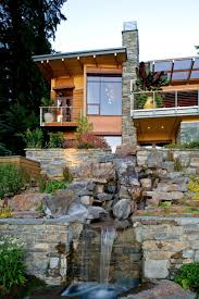 exterior design waterfall designs and horizontal fence in