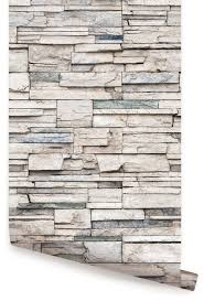 Peal And Stick Wall Paper Peel And Stick Faux Stone Wallpaper Transitional Wallpaper