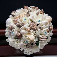 seashell bouquet made seashell bouquet wiht light blue pins for and