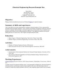 cover letter sle internship resume templates chemicalngineering objectivexles how to write