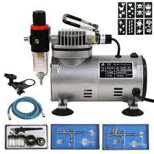 zeny 3 airbrush kit 8 stencil patterns 1 5 hp air compressor dual
