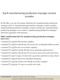 Production Manager Resume Sample Top8manufacturingproductionmanagerresumesamples 150514020345 Lva1 App6892 Thumbnail 4 Jpg Cb U003d1431569065