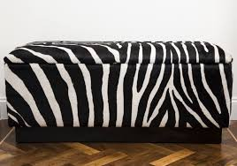 Animal Print Storage Ottoman Furniture Rectangle Zebra Print Ottoman Decorative Zebra