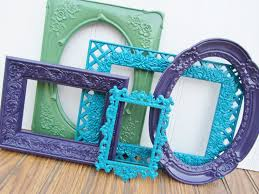 peacock painted frames set of 5 turquoise green and purple