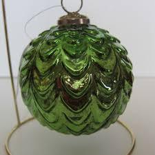 green mercury glass kugel style glass ornament gorgeous new