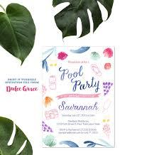 teenage pool party invitation tween birthday invitation
