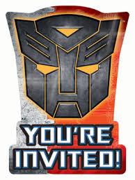 transformers invitations 8pk parties4kids