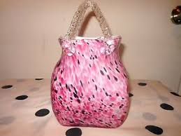 Murano Glass Purse Vase Art Glass Purse Flower Vase Basket Murano Style Hand Blown Pink