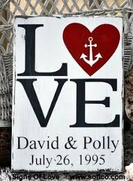 love beach wedding sign personalized gift rustic nautical anchor