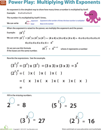 multiplying numbers with exponents worksheet education com