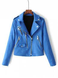 blue motorcycle jacket zip up faux suede motorcycle jacket blue jackets coats m zaful