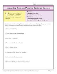 sentence pattern in english grammar sentence patterns sentence openers writing worksheets