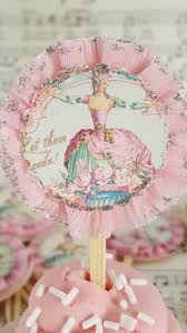 marie antoinette frilly pink cupcake toppers birthday
