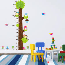 Removable Wall Decals For Nursery by Height Chart Wall Decals Naughty Monkey The Owl Trees Cartoon