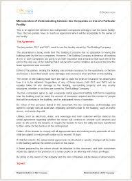 memorandum of understanding for particular facility