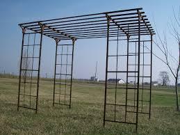 Metal Garden Arches And Trellises Wrought Iron Mission Flower U0026 Vine Arbor Structure