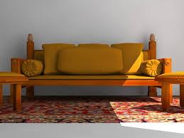 3d Sofa Indoor Wooden Sofa 3d Model Furniture 3d Models Settee Max Ar Vr