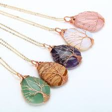 drop shaped necklace images Natural amethyst quartz opal stone pendants handmade rose gold jpg