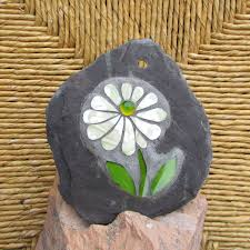 Unique Decorations For Home Soft Sage Green Daisy Mosaic On Slate Unique Decor For Home Or