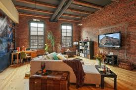 eclectic living room with exposed beam u0026 interior brick zillow