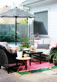 Blue And White Striped Patio Umbrella Decorating Ideas A Chic And Colorful Patio Refresh