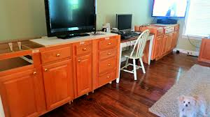 Height Of Kitchen Base Cabinets by Remodelaholic Build A Wall To Wall Built In Desk And Bookcase