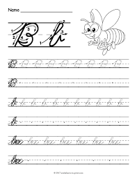 free printable cursive b worksheet cursive writing worksheets
