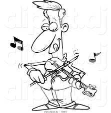 cartoon vector clipart of a confident guy playing violin
