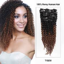 clip in human hair extensions 18 ombre color 7 pieces afro curly clip in remy human hair