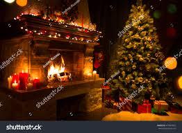 christmas interior tree presents fireplace stock photo 477967822