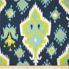 ikat fabric by the yard blue green upholstery home decor navy
