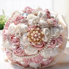 Wedding Bouquets Cheap Beautiful Flowers Bouquets For Bride Handmade Pearls Crystal