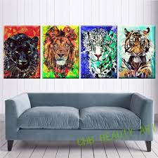 4 panel colorful lion tiger animal art home decor wall art picture