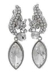 earrings clip on rhinestone spray style clip on drop earrings blue velvet vintage