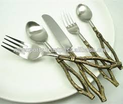 unique cutlery brass fancy cutlery set set of 5 with twig design handle buy