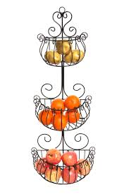 wall fruit basket wall mounted scrollwork design deluxe 3 tier black iron fruit
