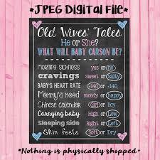 old wives tales gender reveal chalkboard poster pink or