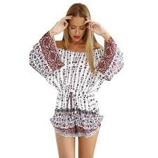 hippie jumpsuit hippie shoulder s white sleeves playsuit