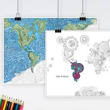 Large Framed World Map by World Map Adults Colouring Print By Maps International