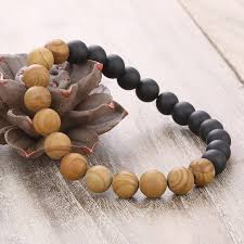 black prayer beads bracelet images New men natural wood beads bracelets black matte lava meditation jpg