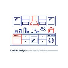 cuisine disposition conception intérieure de cuisine ensemble de meubles plan de