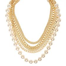 chunky necklace chain images Gold tone multi layer faux pearl chunky necklace icing us jpg