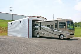 nice awesome design of the metal rv garages that can be decor with modern white nuance of the metal rv garages that can be a good space to save futuristic designs
