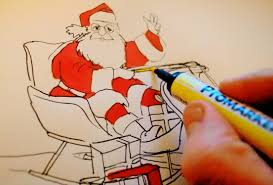 asmr christmas drawing santa claus reindeer christmas card