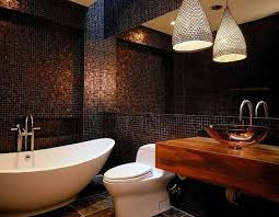 Pendant Lighting In Bathroom Large Pendant Lighting Fixture In Black Mosaic Wall Bathroom With