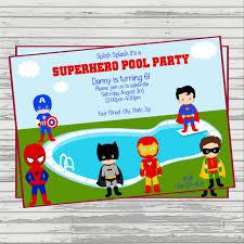 superhero pool party custom digital birthday invitation