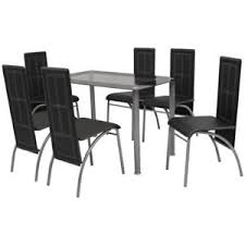 Dining Tables And 6 Chairs Vidaxl Black Metal 7 Pcs Dining Set Table 6 Chairs Kitchen Dining
