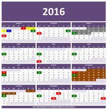 2016 calendars excel templates