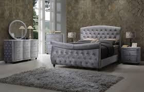 Grey Sleigh Bed Contemporary Grey Velvet Tufted 4pc King Sleigh Bed Set