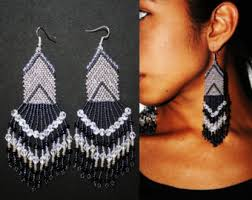 Native American Beaded Earrings Huichol Mexican Native American Beaded Earrings Beautiful Boho Tribal